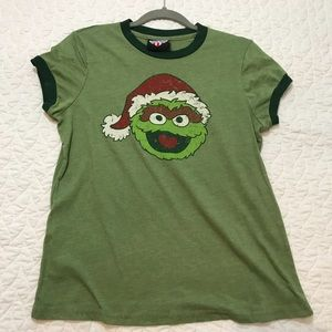 Junk Food Green Oscar the Grouch Santa Ringer Tee